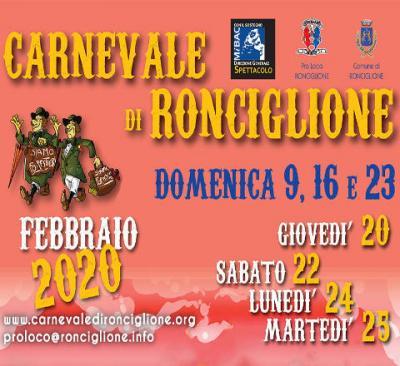 Carnevale Storico di Ronciglione 2020: 09-16-20-22-23-24-25 febbraio 2020. © Pro Loco Ronciglione.