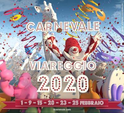 Carnevale di Viareggio 2020: 1, 9, 15, 20, 23, 25 febbraio 2020. © locandina: design Stefano Giovannoni