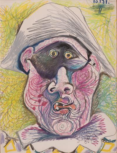 Pablo Picasso - Testa di Arlecchino II, 1971, matita su pastello su carta, 65,2 x 50,2 cm, © Johannesburg Art Gallery