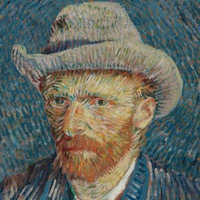 Vincent van Gogh, Autoritratto con cappello di feltro grigio, 1887, olio su tela, cm 44,5 x 37,2. -  Van Gogh Museum (Vincent van Gogh Foundation), Amsterdam