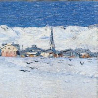 Savognino sotto la neve, olio su tela di Giovanni Segantini