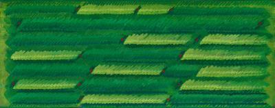 Campi Campo del vento - 1986, Vinilici e pastello a cera su tela, 60 x 150 cm -Fondazione Gastone Biggi