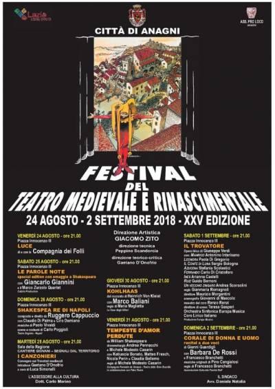 festival del teatro medievale e rinascimentale, locandina 2018  Anagni