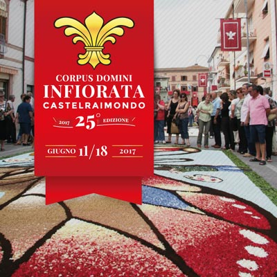 Infiorata di Castelraimondo per il Corpus Domini, 25^ edizione, dal 16 al 18 giugno 2017.