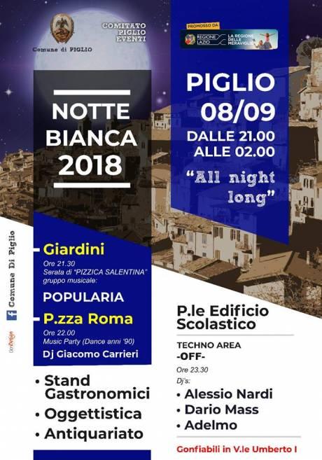 Notte Bianca Piglio 2018, manifesto