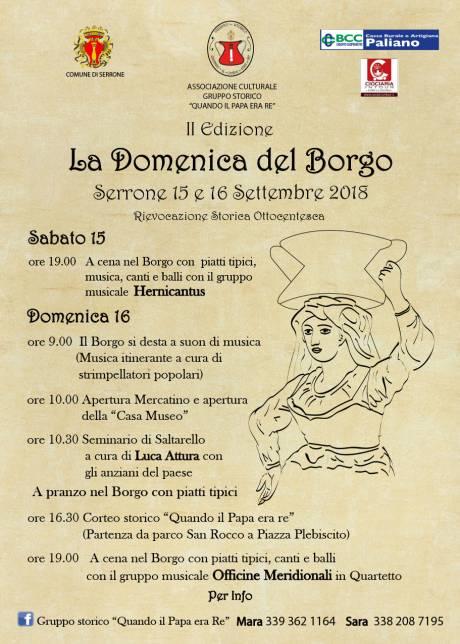 domenica Borgo 2018, locandina della rievocazione storica ottocentesca