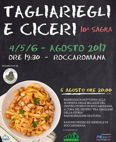 locandina sagra tagliaregli e ciceri a Roccaromana (ce)