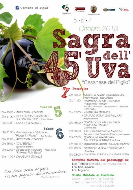 Festa dell'uva del Piglio, locandina 2018