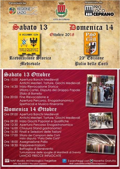 Rievocazione storica medievale e Palio delle Corti - Ceprano (FR) - 13 e 14 ottobre