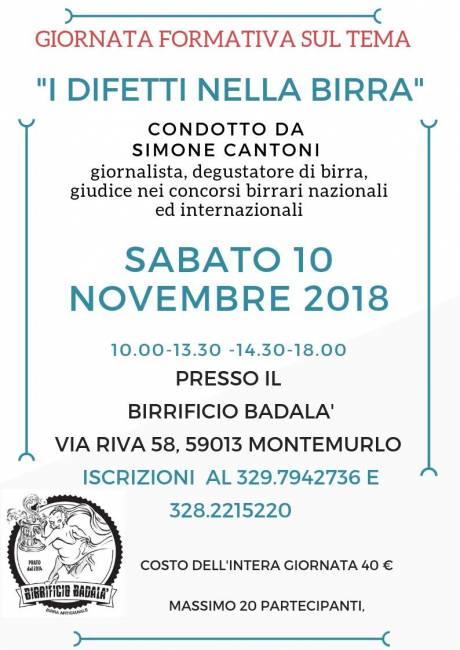 I difetti nella Birra - Montemurlo (PO) - 10 novembre