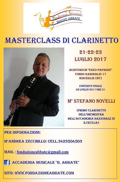 locandina masterclass di clarinetto con il maestro Stefano Novelli