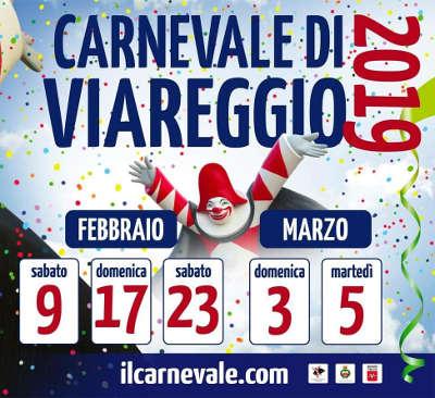 Carnevale di Viareggio 2019: 9, 17, 23 febbraio 2019 e 03, 05 marzo 2019. © Fondazione Carnevale di Viareggio.
