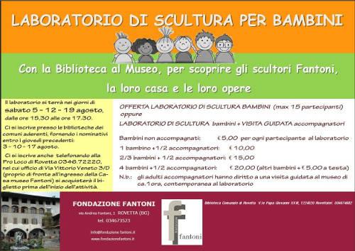 locandina laboratorio di scultura per bambini