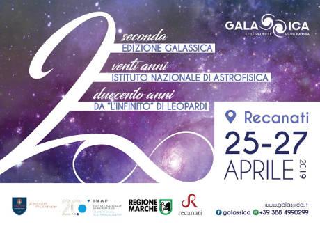 Galassica - Festival dell'Astronomia 2019, seconda edizione. Recanati (MC), dal 25 al 27 aprile 2019. © Galassica Festival dell'Astronomia 2019.
