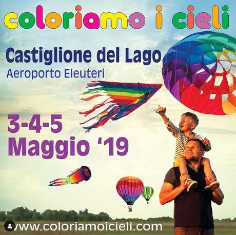 Coloriamo i Cieli 2019, XXVIII edizione, Castiglione del Lago dal 03 al 05 maggio 2019. Immagine da Instagram © Coloriamo I Cieli / Comune di Castiglione del Lago.