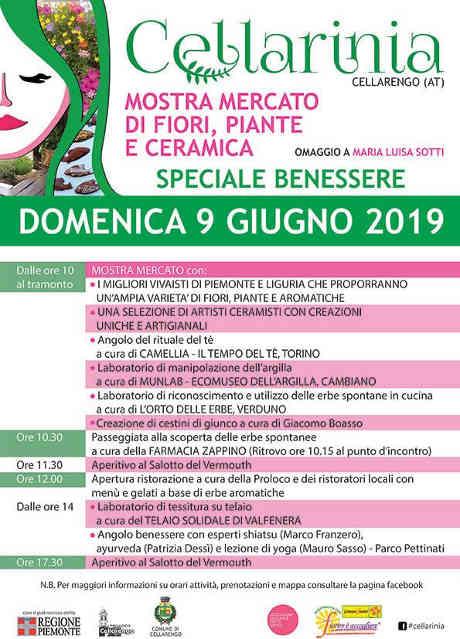 Cellarinia - mostra mercato di fiori, piante e ceramica, III edizione. Cellarengo (AT), domenica 09 giugno 2019. © Cellarinia / Comune di Cellarengo.
