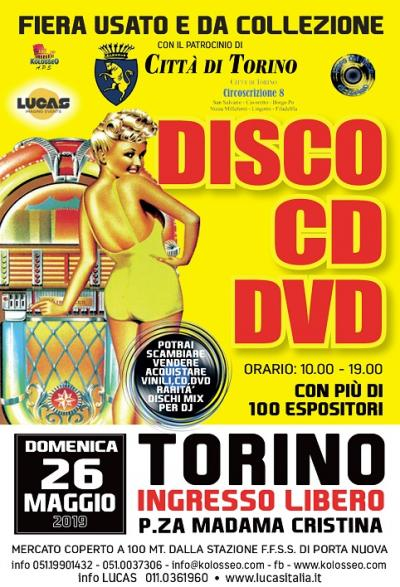 manifesto Mostra del disco, del cd e del dvd Torino 2019