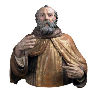 Pompeo Cesura - San Equizio -1560-1570 dalla distrutta chiesa di San Lorenzo, ora al castello Piccolomini a Celano. Legno dipinto dorato argentato