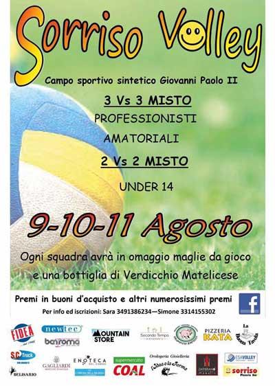 Sorriso Volley, Torneo di Pallavolo per Professionisti ed Amatoriali a Matelica, dal 9 all'11 agosto 2017 presso il Campo Sportivo Giovanni Paolo II. © Associazione Pro Matelica