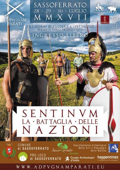 SENTINVM La Battaglia delle Nazioni, dal 28 al 30 luglio 2017 a Sassoferrato. Grafica di Angela Ruggero.