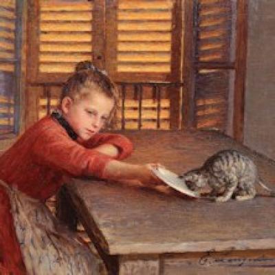 Longoni E. - Ragazzina col gattoone della Luce